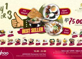 Promo Dinghao Restaurant MYKO, Pilih 3 Makanan Hanya Rp91 Ribu Nett